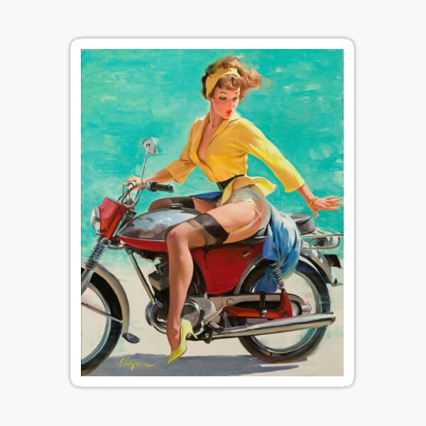Pin up fille rétro moto vintage Sticker