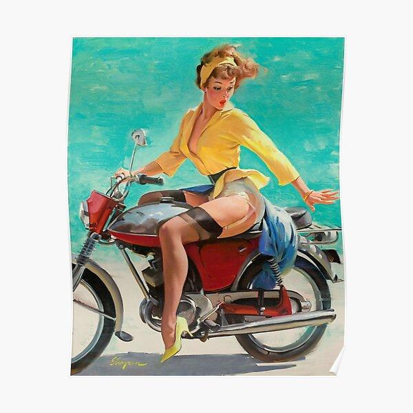 Pin up fille rétro moto vintage Poster