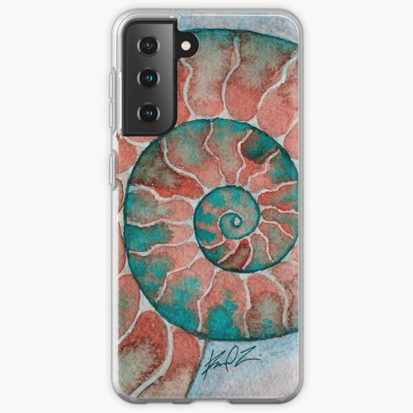 Pink and teal ammonite fossil watercolor Samsung Galaxy Soft Case
