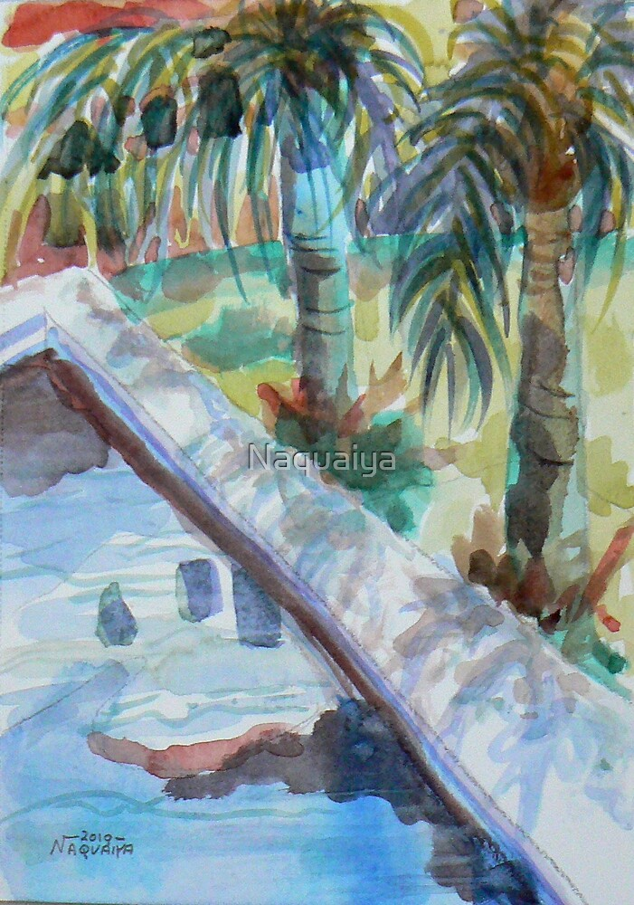 Coto Pool watercolor plein aire by Naquaiya