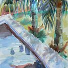 Coto Pool watercolor plein aire by Naquaiya