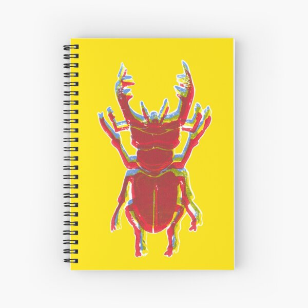 Stag Beetle Tricolore lino cut on yellow background Spiral Notebook