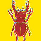 Stag Beetle Tricolore lino cut on yellow background by VrijFormaat