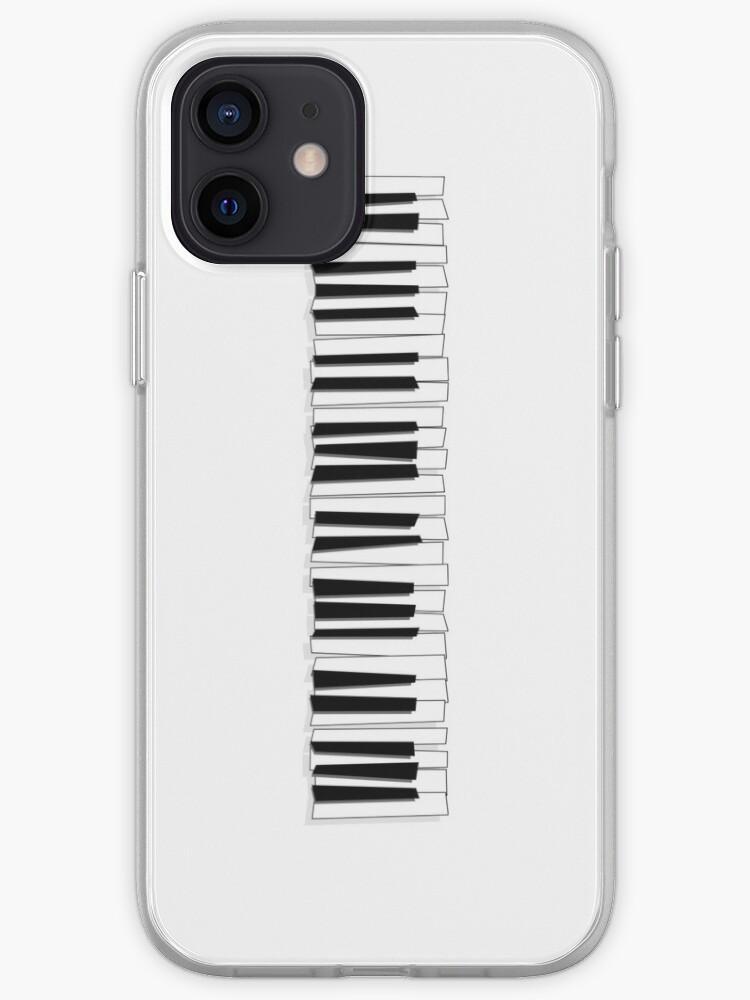 Touches du piano noir et blanc de style dessin animé moderne   Coque iPhone