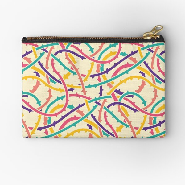 Prickly Branches - Geometric Botanical Pattern (Multicolor) Zipper Pouch