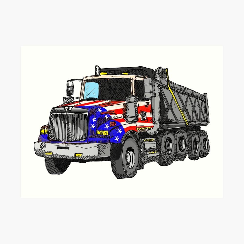Camión volquete americano de Estados Unidos Lámina artística