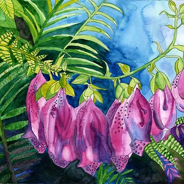 Pink Foxglove watercolour painting by esvb