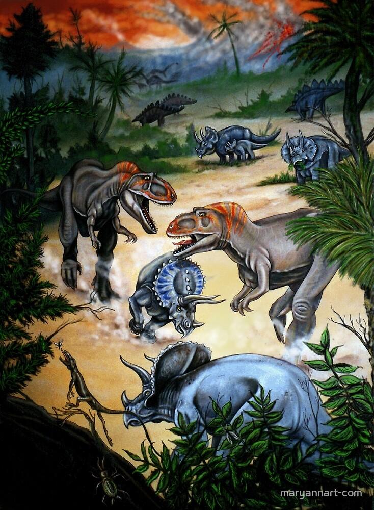 Double Dinosaur Hunt by maryannart-com