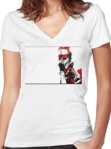 anime - pokemon - trainer red Women's Fitted V-Neck T-Shirt