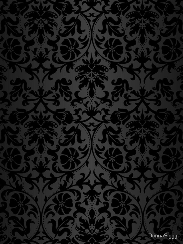 Black Floral Damask by DonnaSiggy