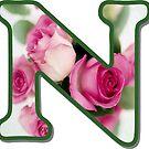 Letter N Rose Monogram by gretzky