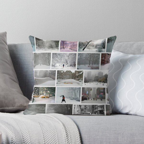 NY, New York, Snow, Collage, Adaptation, Winter, winter, snow, window, cold, outdoors, frost, nature, horizontal, no people, modern, water, non-urban scene, day Throw Pillow