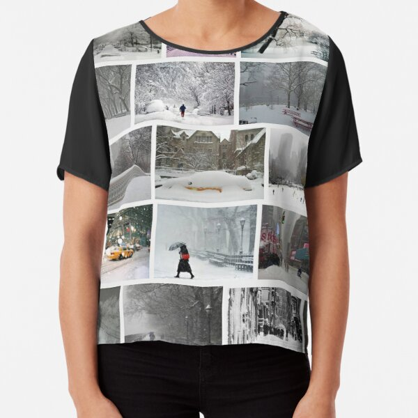 NY, New York, Snow, Collage, Adaptation, Winter, winter, snow, window, cold, outdoors, frost, nature, horizontal, no people, modern, water, non-urban scene, day Chiffon Top