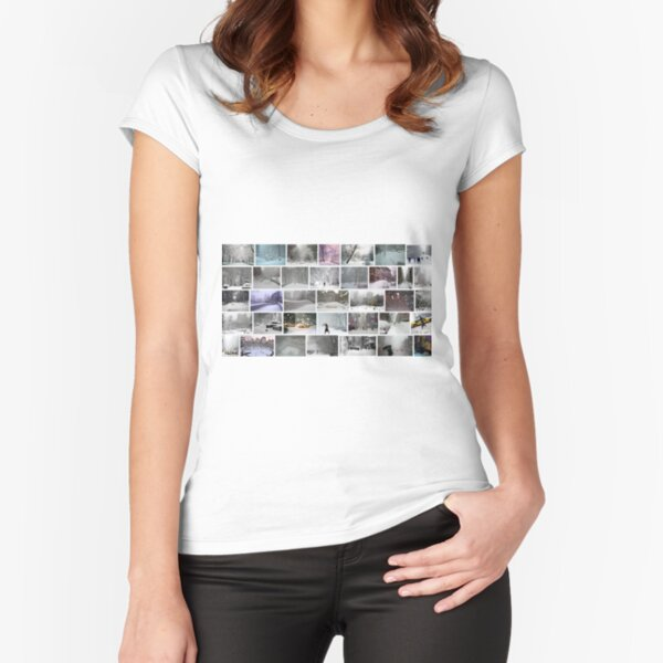 NY, New York, Snow, Collage, Adaptation, Winter, winter, snow, window, cold, outdoors, frost, nature, horizontal, no people, modern, water, non-urban scene, day Fitted Scoop T-Shirt
