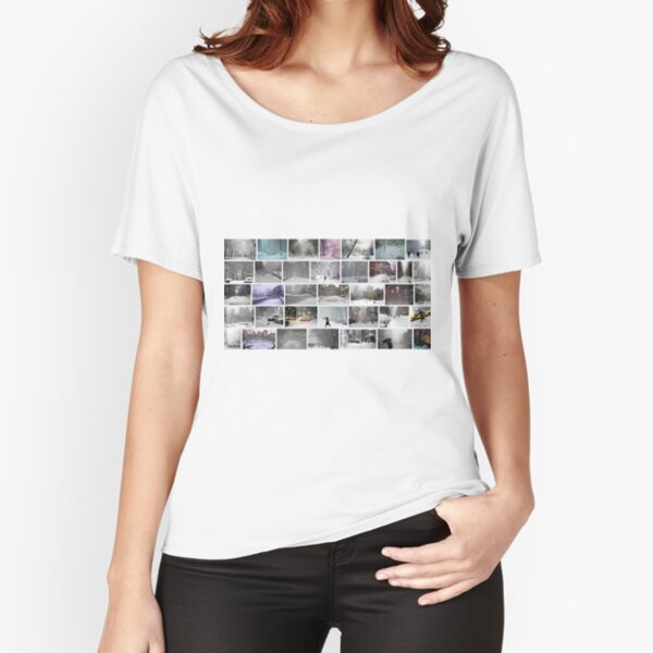 NY, New York, Snow, Collage, Adaptation, Winter, winter, snow, window, cold, outdoors, frost, nature, horizontal, no people, modern, water, non-urban scene, day Relaxed Fit T-Shirt