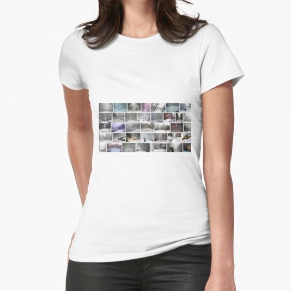 NY, New York, Snow, Collage, Adaptation, Winter, winter, snow, window, cold, outdoors, frost, nature, horizontal, no people, modern, water, non-urban scene, day Fitted T-Shirt