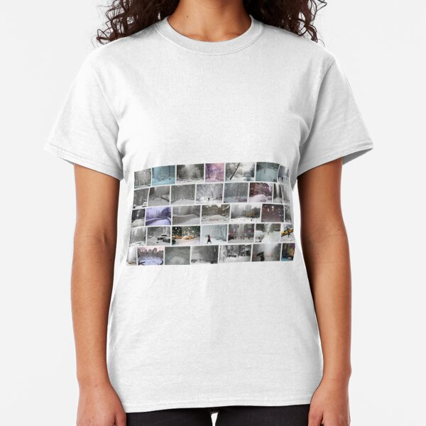 NY, New York, Snow, Collage, Adaptation, Winter, winter, snow, window, cold, outdoors, frost, nature, horizontal, no people, modern, water, non-urban scene, day Classic T-Shirt