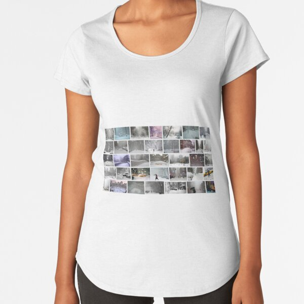 NY, New York, Snow, Collage, Adaptation, Winter, winter, snow, window, cold, outdoors, frost, nature, horizontal, no people, modern, water, non-urban scene, day Premium Scoop T-Shirt