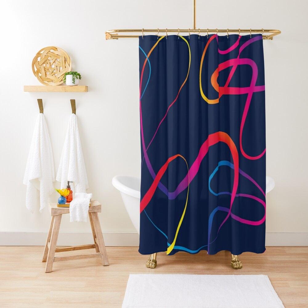 Abstract elegant lines in rainbow colors Shower Curtain