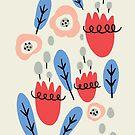 Glückliche Blumen mit blauen Blättern von Jacqueline Hurd