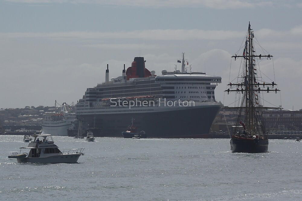 Leeuwin II & Queen Mary 2 at Fremantle by Stephen Horton