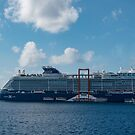 The Celebrity Edge and the Holland America Veendam off Grand Cayman by Gerda Grice