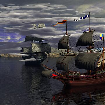 HMS Prince William and the Flying Dutchman poster version by Sazzart