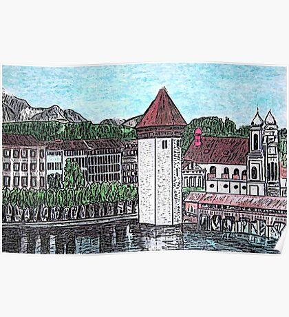Covered Bridge on Lake Lucerne Switzerland Poster