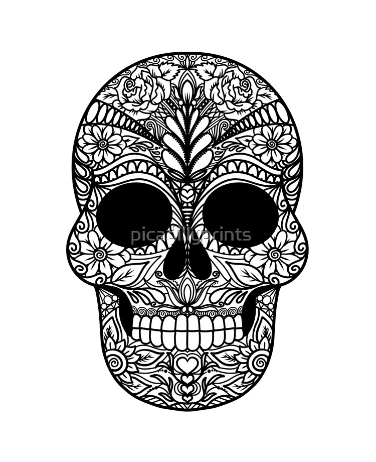Day Of The Dead Dia De Los Muertos Skull Coloring Doodle Art