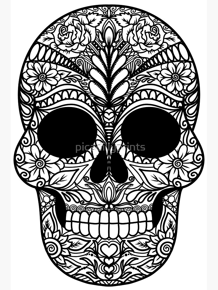 - Day Of The Dead Dia De Los Muertos Skull Coloring Doodle Art