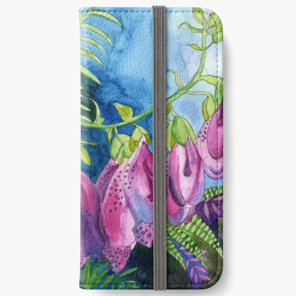 Pink Foxglove watercolour painting iPhone Wallet
