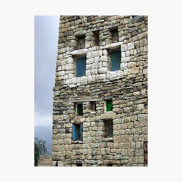Symbols on the wall (16) - tower house near Al Hajjarah Photographic Print