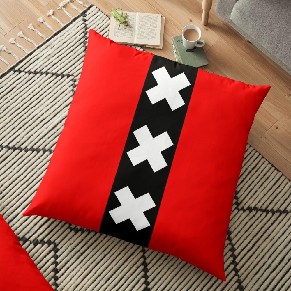 Amsterdam Flag 3 X's Floor Pillow