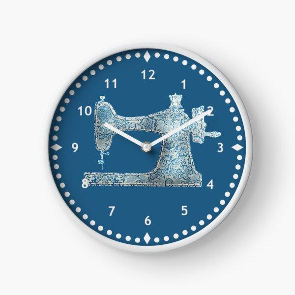 Stitched Blue Damask Sewing Machine Clock Clock