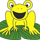 Yellow Frog On A Lily Pad by rewstudio