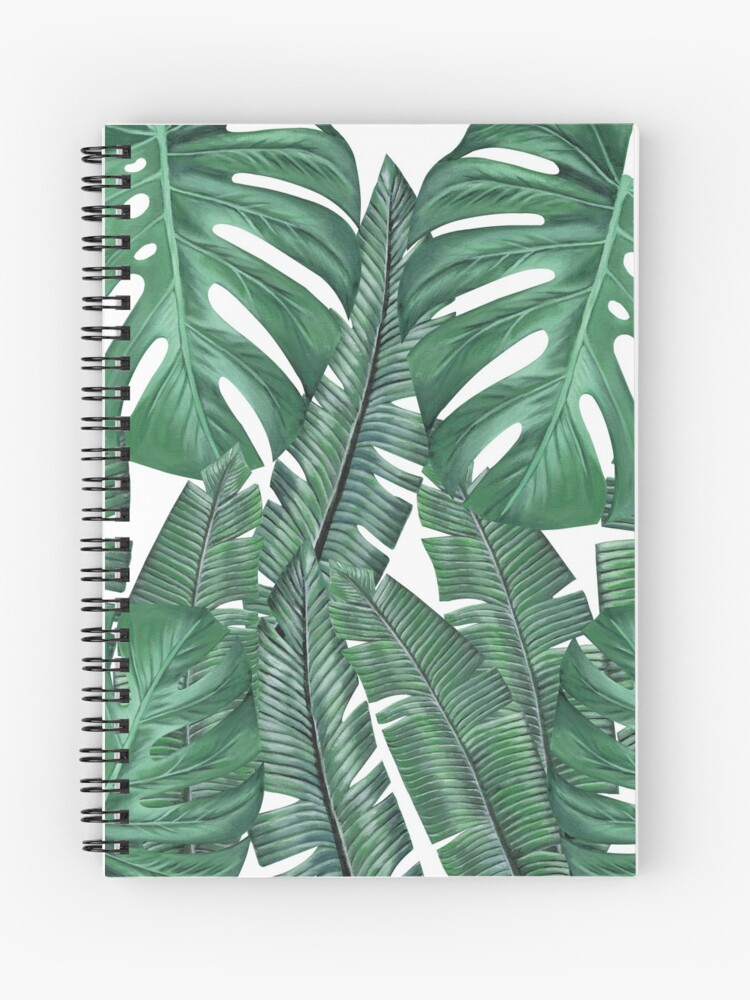 Tropical Leaves Art Print Monstera And Banana Leaves Spiral Notebook By Ambloor Redbubble Tropical palm leaves notebook, daily journal, composition book i love it so nicer love this note book because you has has lines for writing but if you do want to do a. tropical leaves art print monstera and banana leaves spiral notebook by ambloor redbubble