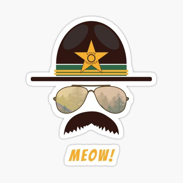 Cop-Stache Cop Humor For Cat Lovers Sticker
