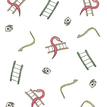 Classic Watercolor Doodle Snakes And Ladders Boardgame Design by SharkaSplat