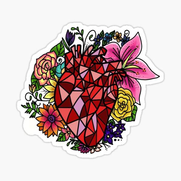Floral Geometric Heart  Sticker