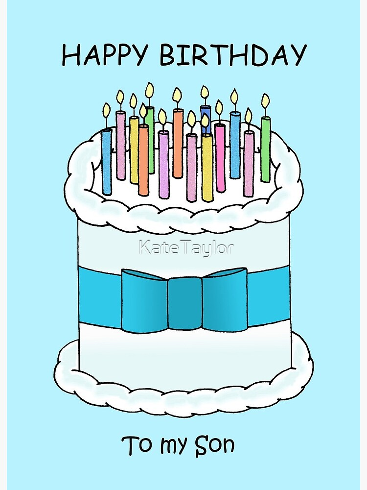 Super Happy Birthday To My Son Cartoon Cake And Candles Art Board Funny Birthday Cards Online Bapapcheapnameinfo