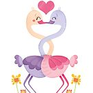 Just one more kiss ostrich illustration by Angela Sbandelli