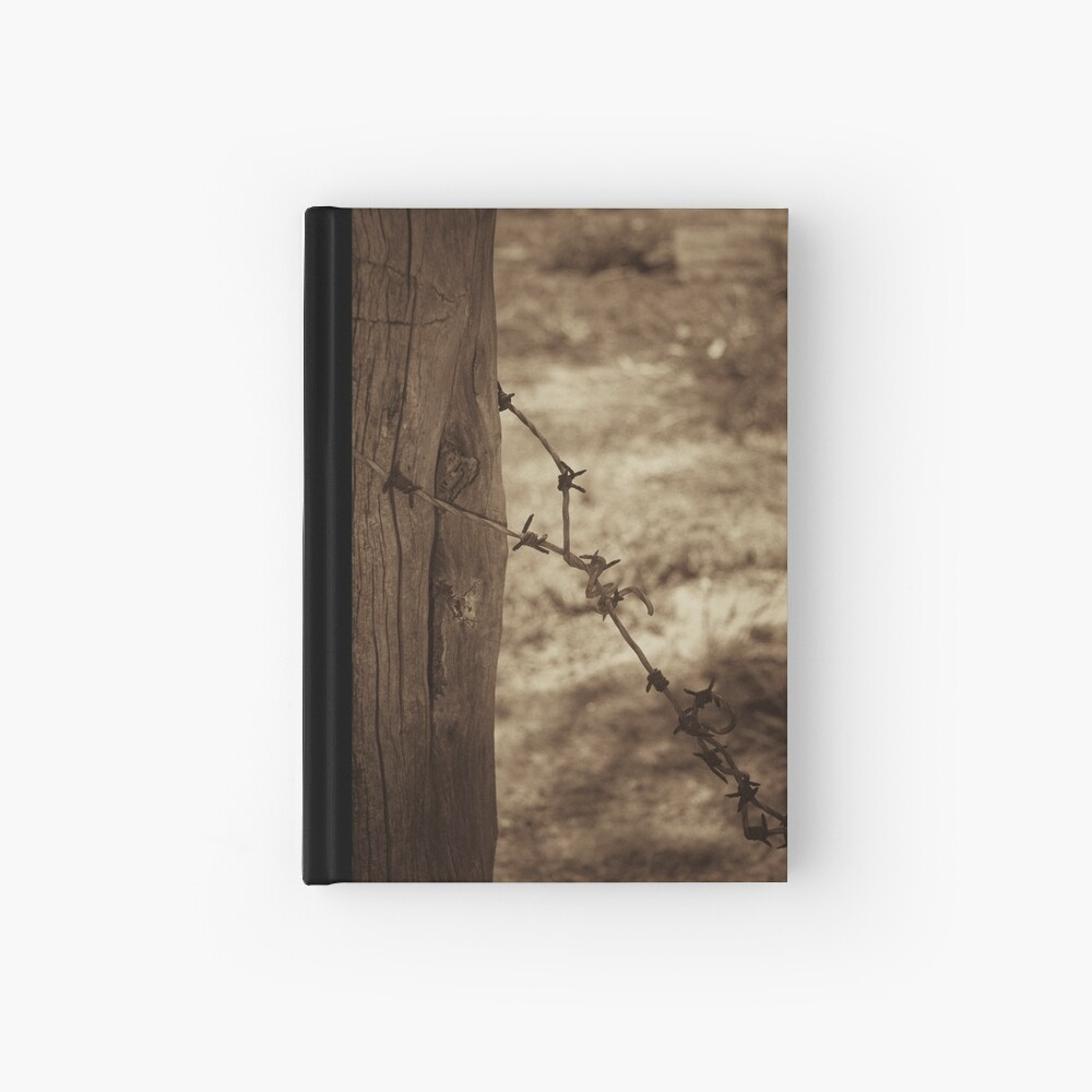 Old barbed wire - sepia Hardcover Journal