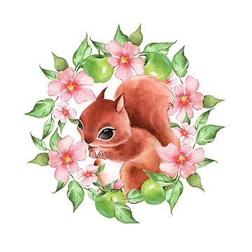 Squirrel and flowers by Gribanessa
