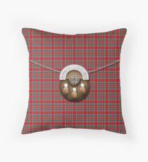 Clan Burrell Tartan And Sporran Throw Pillow