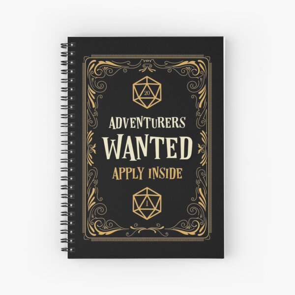 Adventurers Wanted Apply Inside RPG Spiral Notebook