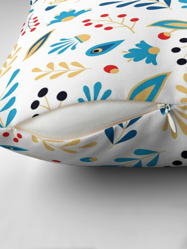 Alternate view of Folk Leaves and Flowers Bright Throw Pillow