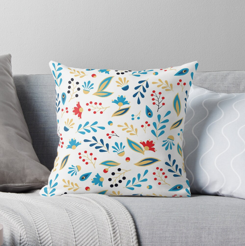 Folk Leaves and Flowers Bright Throw Pillow