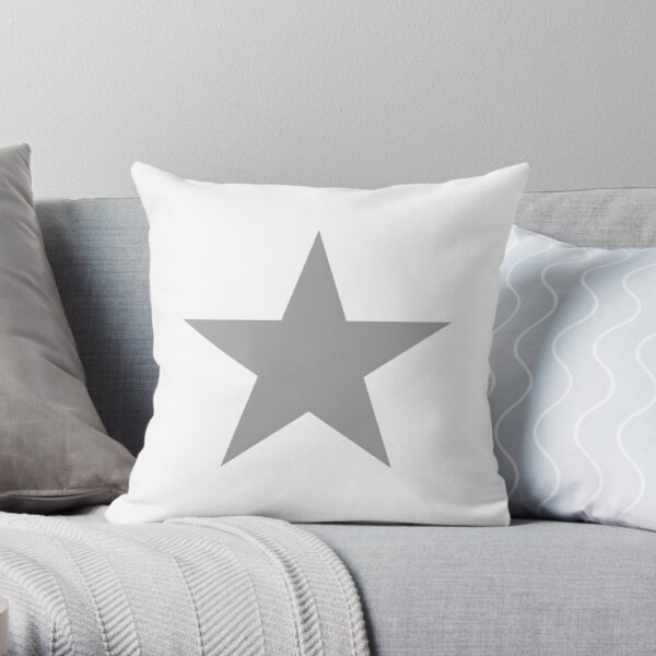 Grey Star on white. Throw Pillow