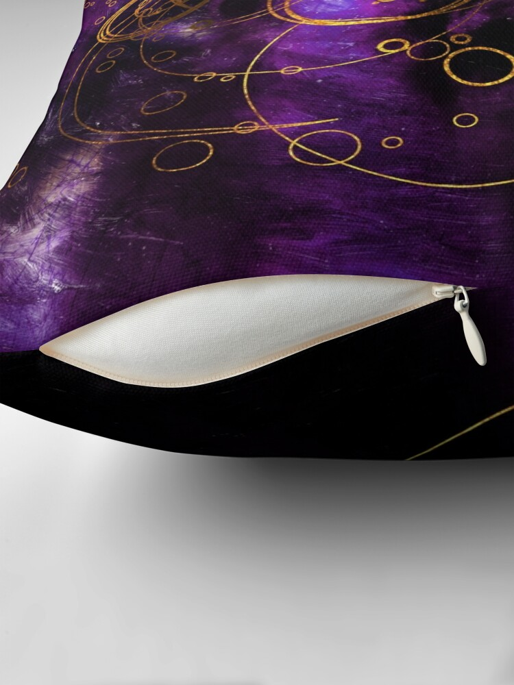 Alternate view of Time Lord Writing (purple) Throw Pillow