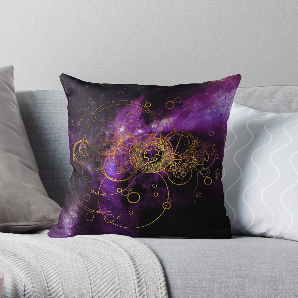 Time Lord Writing (purple) Throw Pillow